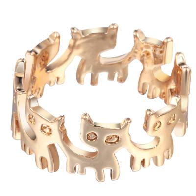 KOČKY - prstýnek - zlatý 1ks