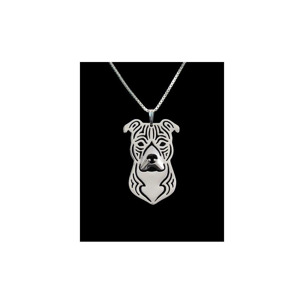 AMERICKÝ STAFORDŠIRSKÝ TERIÉR HLAVA - náhrdelník s přívěskem - stříbrný 1ks
