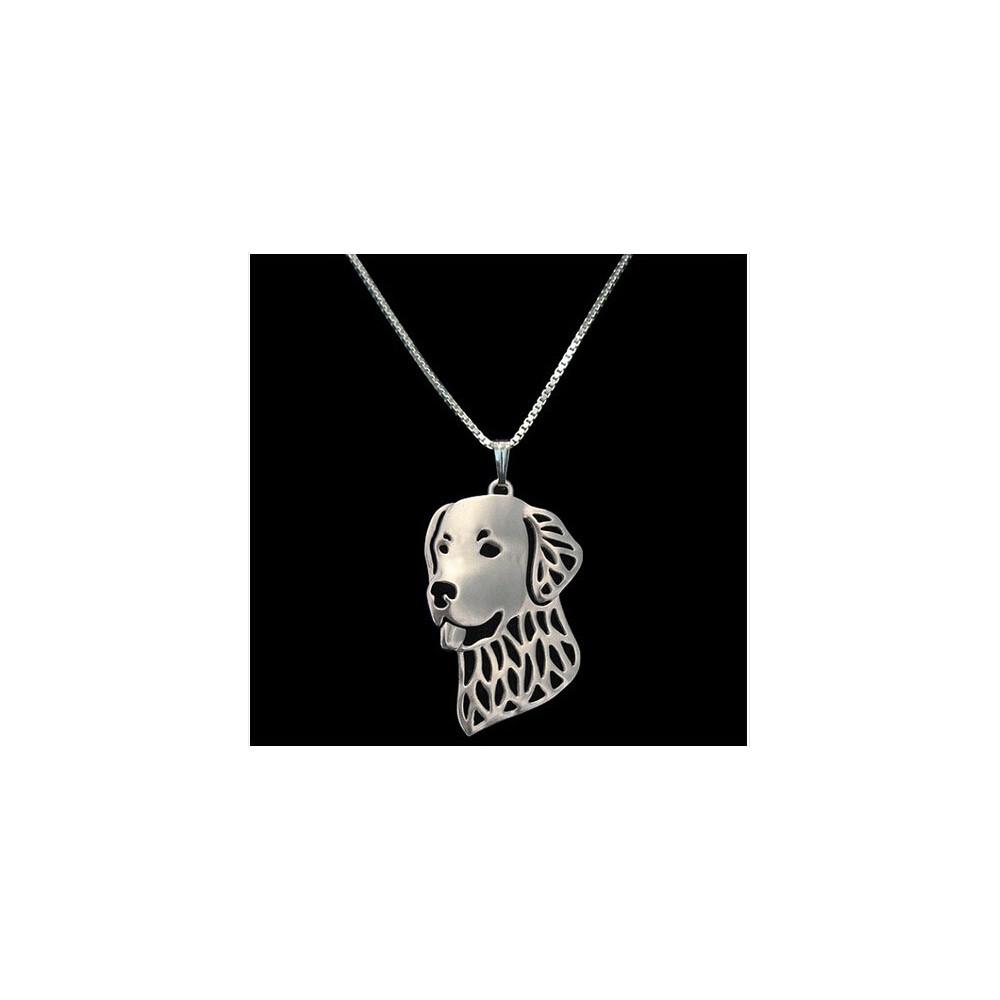 LABRADOR HLAVA - náhrdelník s přívěskem - stříbrný 1ks