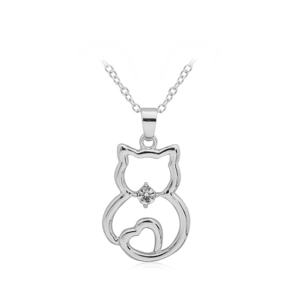 KOČKA Č.2 - náhrdelník s přívěskem - stříbrný 1ks