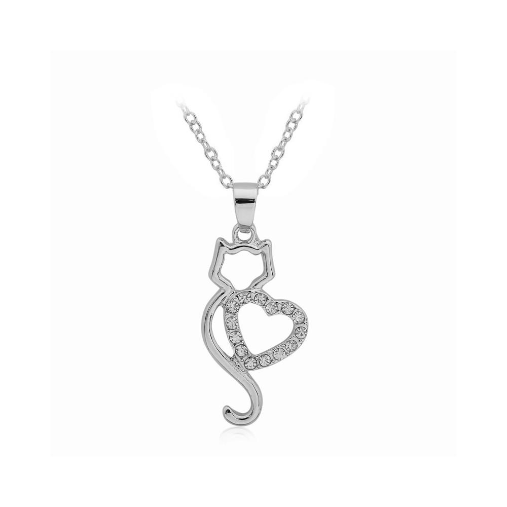 KOČKA SE SRDCEM - náhrdelník s přívěskem - stříbrný 1ks