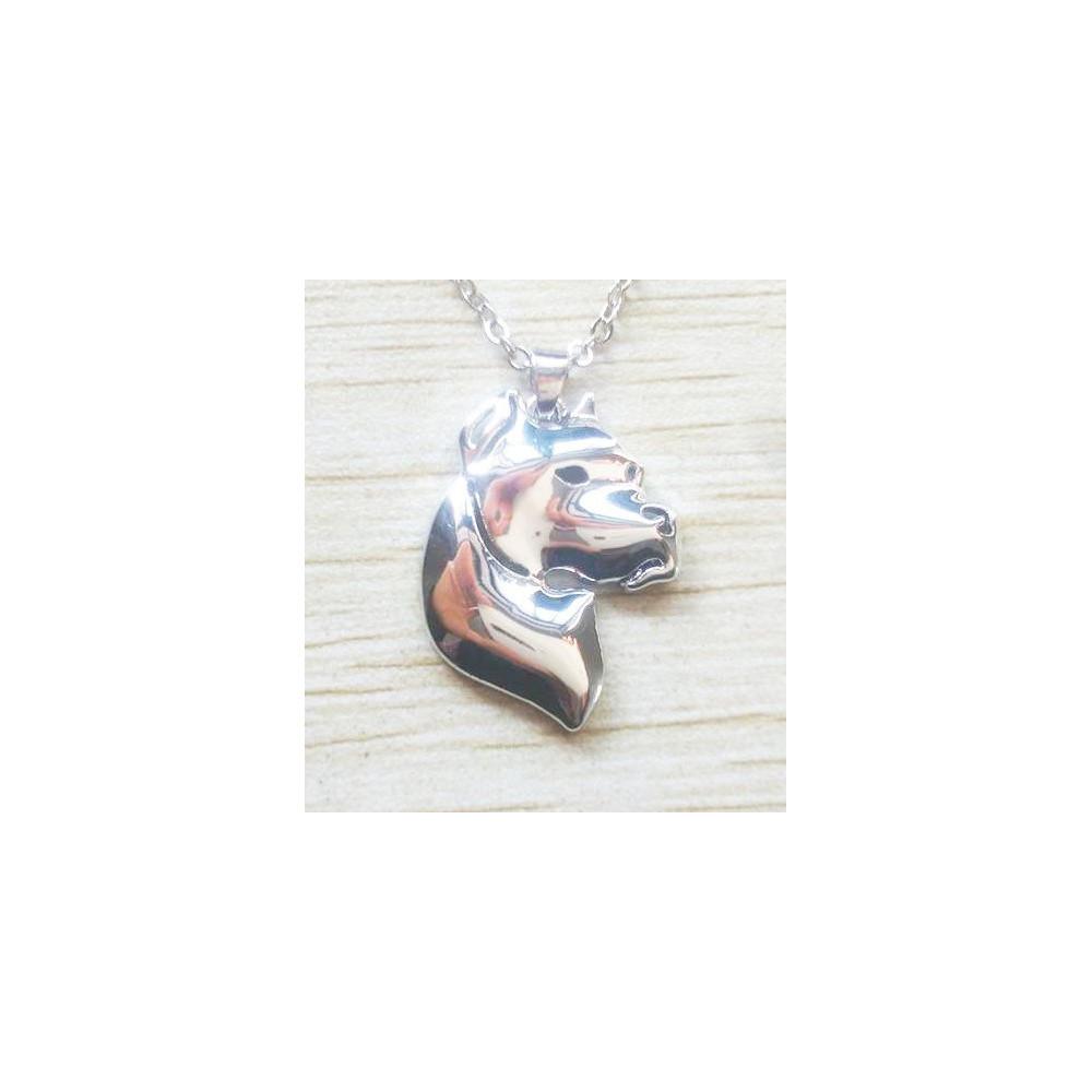 ARGENTINSKÁ DOGA HLAVA - náhrdelník s přívěskem - stříbrný 1ks