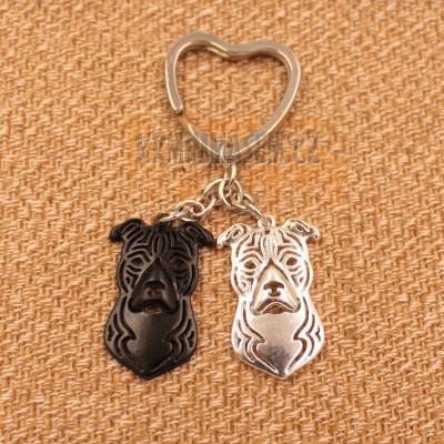 AMERICKÝ STAFORDŠIRSKÝ TERIÉR HLAVY - přívěsky na klíče - černá a stříbrná 2ks