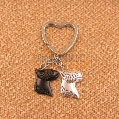 BULTERIÉR HLAVY Č.2 - přívěsky na klíče - černá a stříbrná 2ks