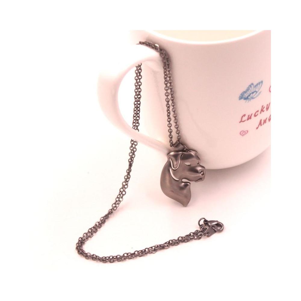 ARGENTINSKÁ DOGA HLAVA - náhrdelník s přívěskem - matné stříbro 1ks