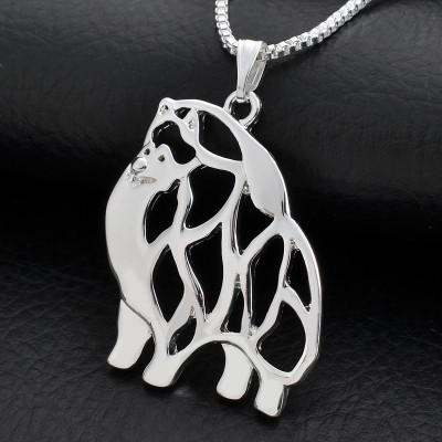 POMERANIAN Č.1 - náhrdelník s přívěskem - stříbrný 1ks