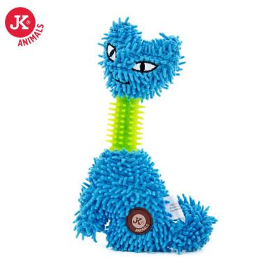 Modrá kočka mop s TPR krkem, plyšová pískací hračka