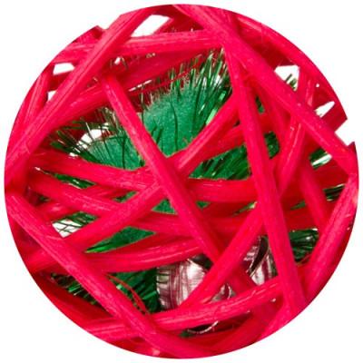 Červená ratanová koule s rolničkou, hračka