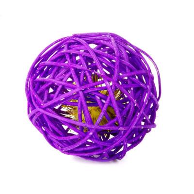 Fialová ratanová koule s rolničkou, hračka