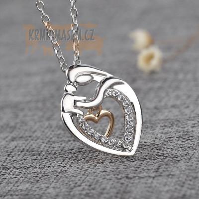 ŽENA A ŠTĚNÁTKO - náhrdelník s přívěskem - stříbrný 1ks