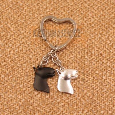 BULTERIÉR HLAVY - přívěsky na klíče - černá a stříbrná 2ks