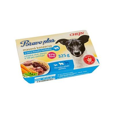 BRAVO plus s hovězím masem 325 g (s kousky hovězího maso, zelenina)