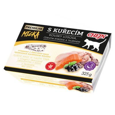 MICKA PREMIUM s kuřecím, kousky lososa, černým rybízem a taurinem 325 g