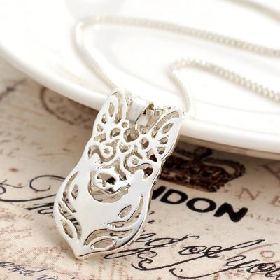 NĚMECKÝ OVČÁK HLAVA Č.1 - náhrdelník s přívěskem - stříbrný 1ks