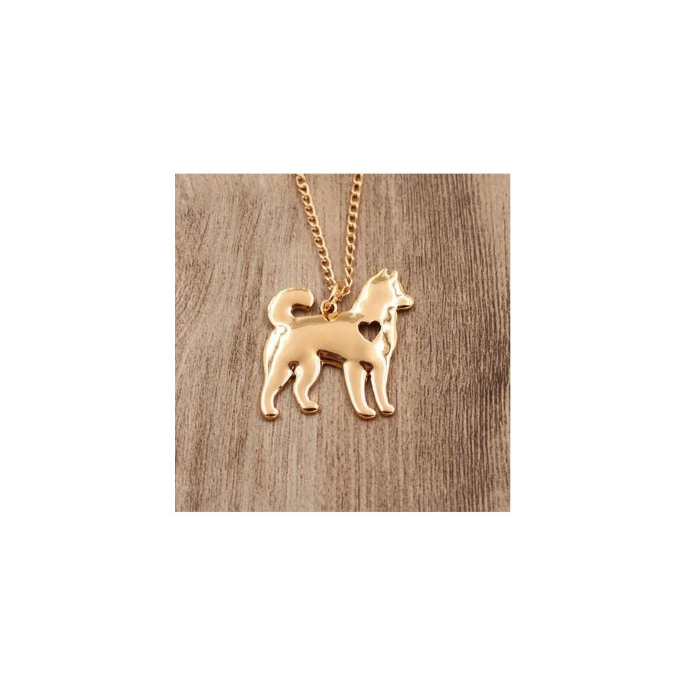 HUSKY/MALAMUT Č.2 - náhrdelník s přívěskem - zlatý 1ks